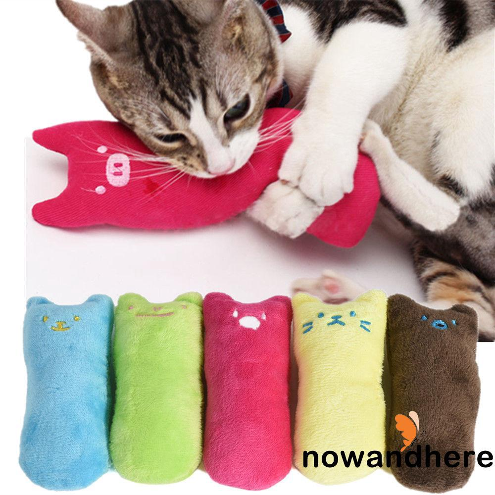 DER-Shape Pet Kitty Cat Relax Sleep Pillow Toys Soft Plush Sound Squeaky Chew