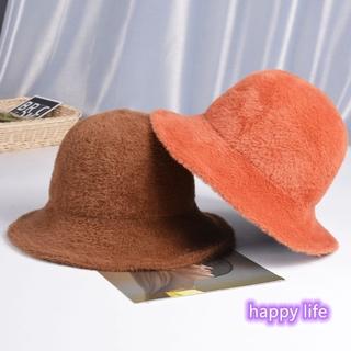 Woman Pure Color Fashion Plush Hat Autumn Bucket Hat Warm All-match Winter
