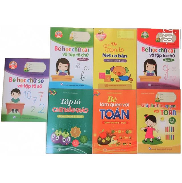 Sách - Bộ Tô Màu Và Học Chữ Cái, Chữ Số Cho Bé ( 8 Cuốn)