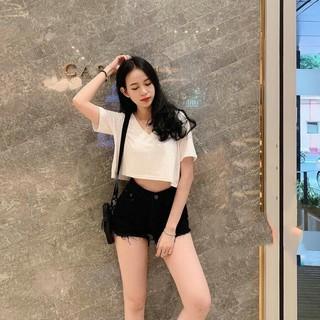 Quần Short Lưng Cao Nữ 2 Màu Trắng & Đen – Quần Short jean nữ – Quần Shorts – Tashop.vn