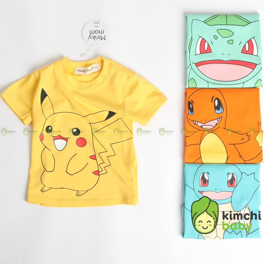 Áo Thun Bé Trai, Bé Gái Minky Mom Vải Cotton 100% Họa Tiết Pikachu Đáng Yêu, Áo Thun Cho Bé Cộc Tay MKMA2108