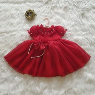 váy tơ đỏ trẻ em đính ngọc cổ (kèm video)