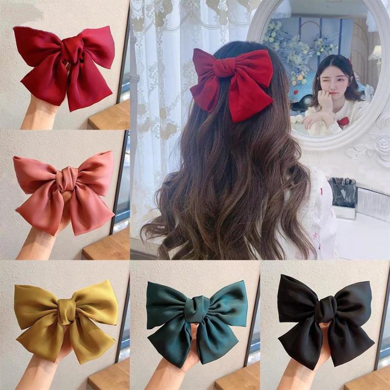 Day buộc tóc/kẹp tóc nơ ruy băng cỡ lớn thời trang Hàn Quốc