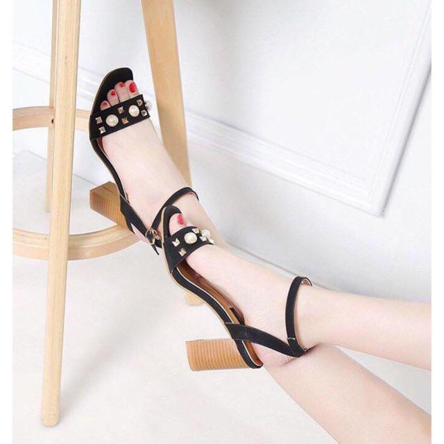 Giày cao gót 7 phân họa tiết MS