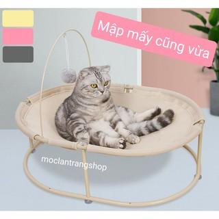 Giường đệm võng cho mèo hình Oval dài 63cm kèm quả bông treo. Ổ mèo ổ chó khung sắt cỡ lớn cho mèo tây thumbnail