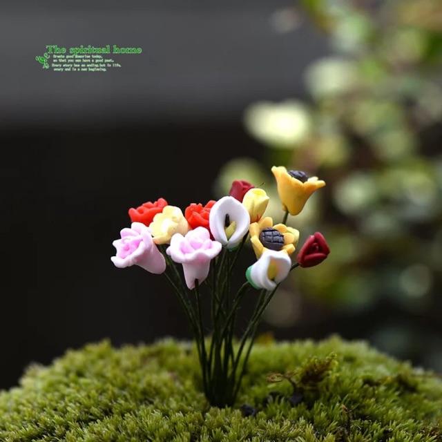 5 Cành Hoa Ngẩu Nhiên phụ kiện trang trí sen đá