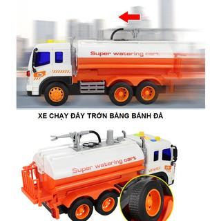 Mô hình xe đồ chơi ô tô chở nước cho trẻ em xe có vòi phun được nước