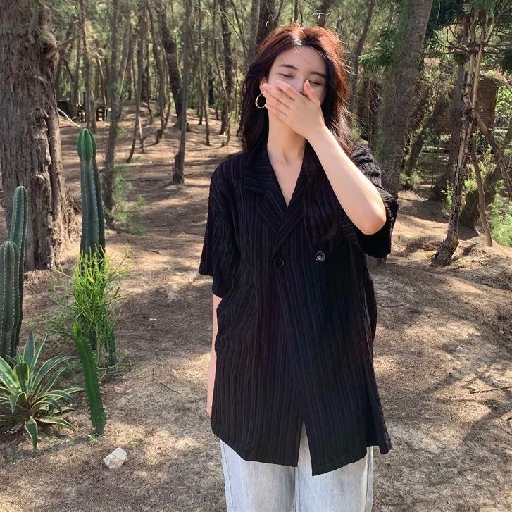 Mặc gì đẹp: Thời trang với Áo Sơ Mi Tay Ngắn Dáng Rộng Thiết Kế Mới Thời Trang Mùa Hè Phong Cách Hàn Quốc Trẻ Trung Cho Nữ