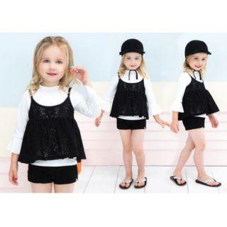 Set đồ bơi kèm mũ bé gái Petite Mieux nhập Hàn chính hãng