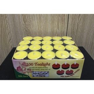 Hộp 100 Viên Nến Tealight Cháy 3-4h ( Trắng Đỏ Vàng )