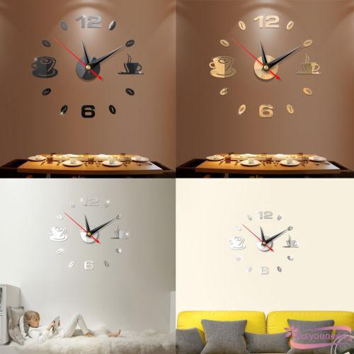 Đồng hồ số dán tường tráng gương trang trí 3D