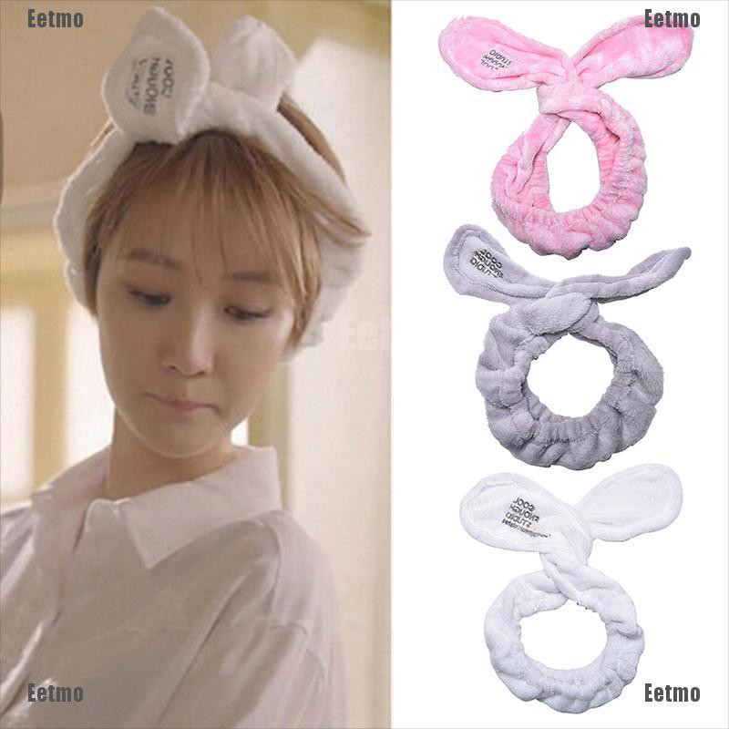 (Eetmo)Cute Big Rabbit Ear Soft Towel Hair Band Wrap Headband For Bath Spa Make Up