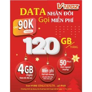 Sim V120Z :Miễn Phí Gọi Nội Mạng Dưới 20 Phút.50Phút Ngoài mạng,Ngày có 4GB,Tháng có 120GB Giá Chỉ 90000₫/1 Tháng