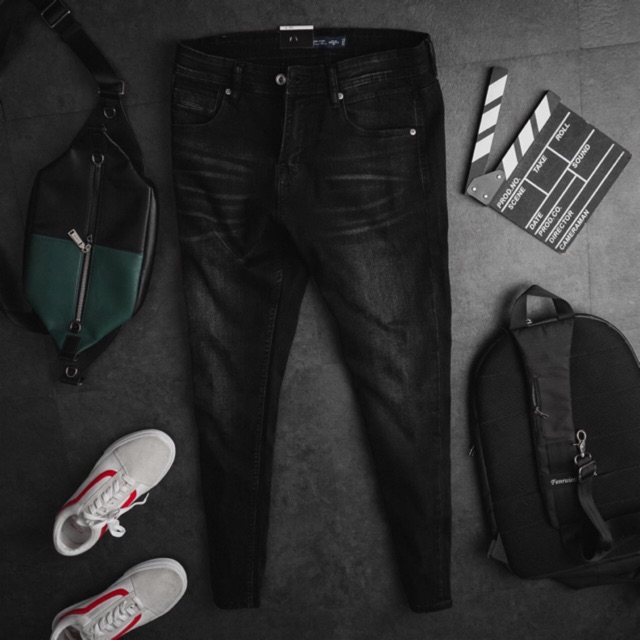 Quần jean nam đen cao cấp ống ôm hàng xuất dư