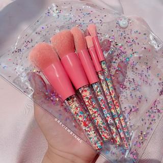 Bộ cọ trang điểm Sprinkles hồng (cọ kẹo) cơ bản 5 cây phủ cốm màu Hàn Quốc thumbnail