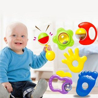 ❤❤6X New Plastic Hand Jingle Shaking Bell Rattle Toddler Baby Music Musical To