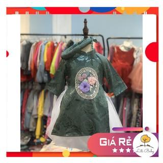Set áo dài lụa đính hoa, gồm áo, chân váy, mấn. Size 2-8T (cho bạn từ 12kg đến 27kg)