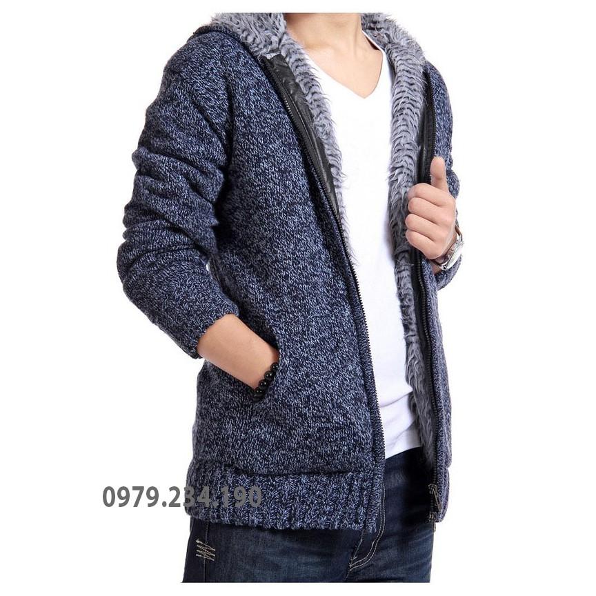Áo khoác len lót lông có mũ thời trang 1114