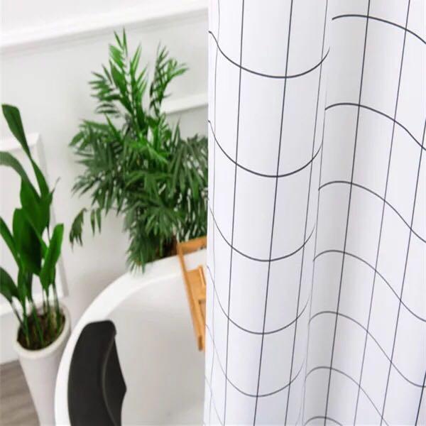 Rèm phòng tắm / Rèm cửa sổ họa tiết Sọc Ô Vuông ( 180cm x 180cm ) Loại 1