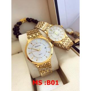 đồng hồ đôi nam nữ Baishuns mặt trắng BSD033 chống nước chống xước,tặng kèm vòng tì hưu