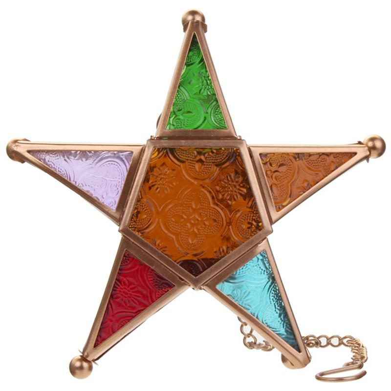 Lồng đèn thủy tinh hình ngôi sao nhiều màu sắc