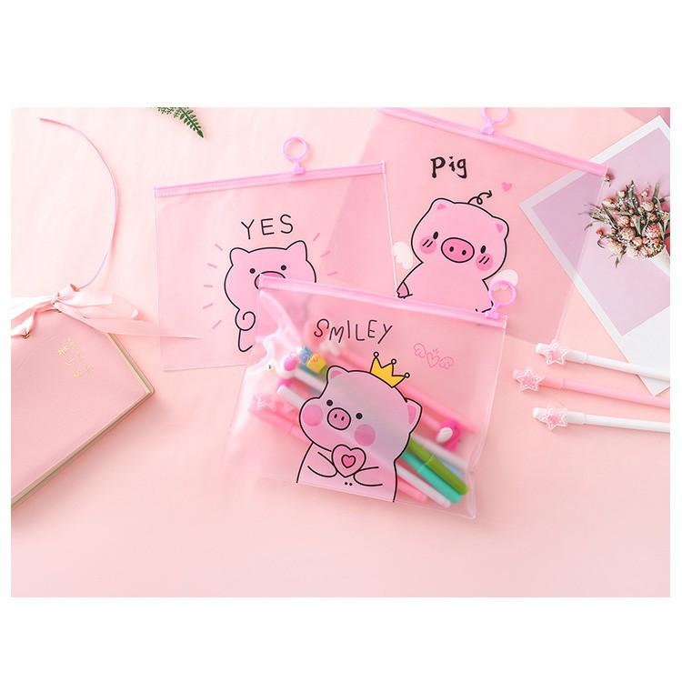 Túi zip đựng mỹ phẩm , dụng cụ học sinh hình heo hồng sành điệu VPP153SP1 | SaleOff247