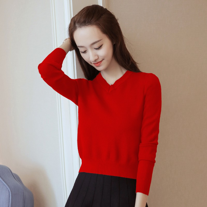 V-neck knit bottoming shirt women's self-cultivation inside a small sweater 2018