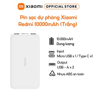 Pin sạc dự phòng Xiaomi Redmi 10000mAh (Trắng) - Bảo hành 6 tháng thumbnail