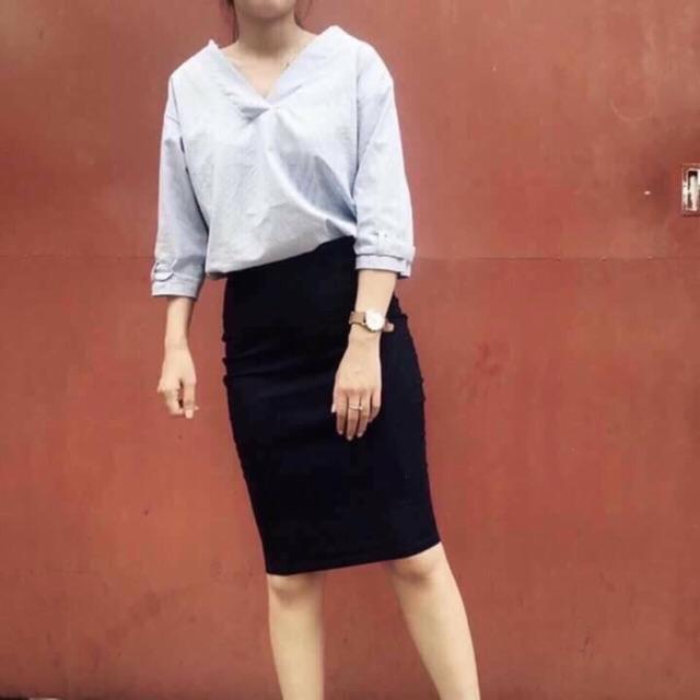 Chân váy công sở hàng xuất chất Umi Hàn siêu xịn mã ngắn ( ảnh thật)