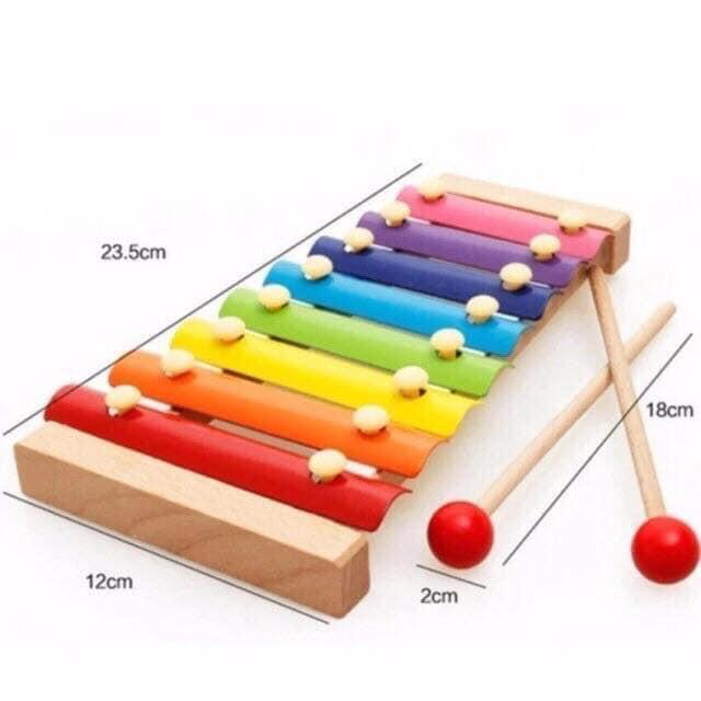 Bộ đồ chơi đàn gỗ 8 âm cho bé làm quen với âm nhạc, màu sắc