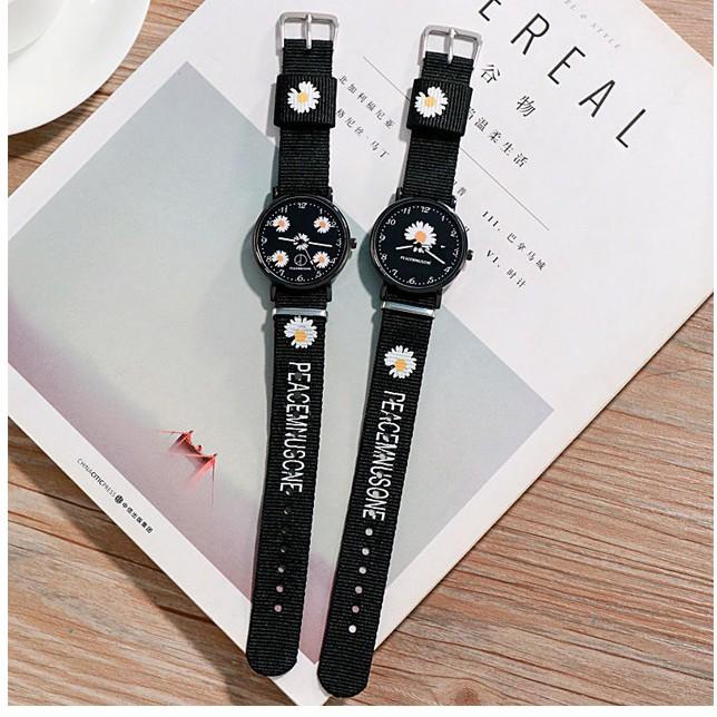 Đồng hồ thời trang nam nữ Quartz dây dù hoa cúc cá tính DH105