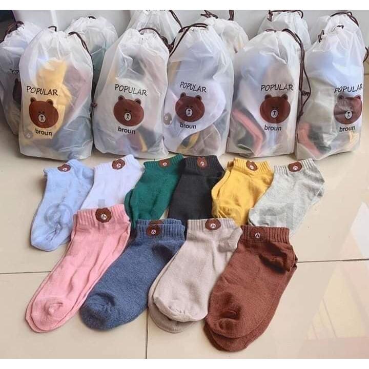 ถุงเท้าหมีเชต  10 คู่  ข้อสั้น  คละสี