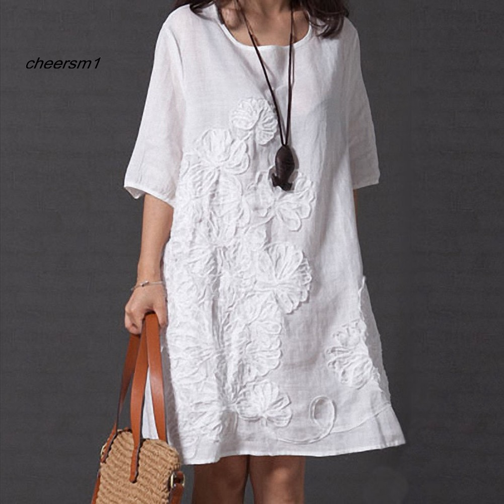 CHE♥Summer Floral Embroidered O-Neck Beach Cotton Linen Half Sleeve Loose Dress