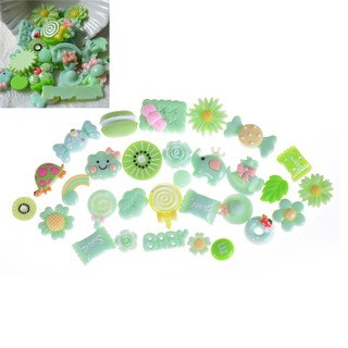 10Pcs Green Blessing Bag Mixed Lot Cute Resin Food Candy DIY Craft Collection