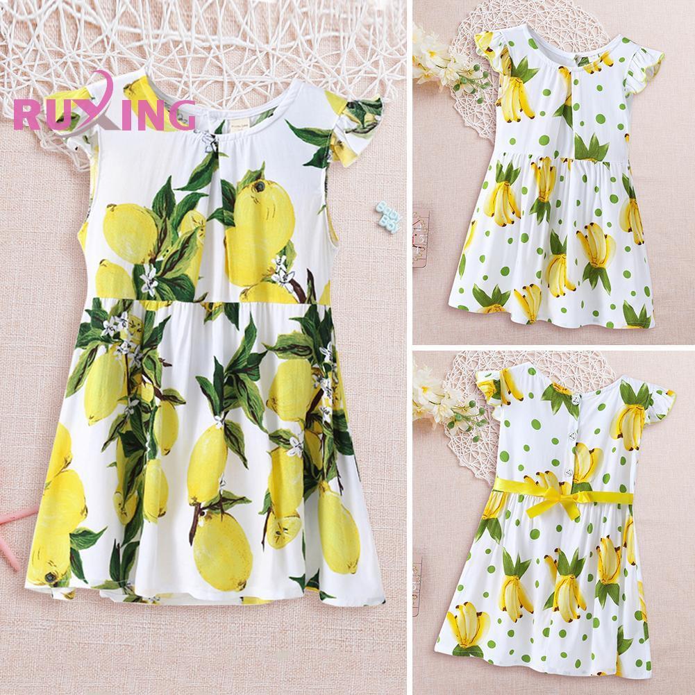 Fruit Printed Dress Flying Sleeve Kids Girl Summer Loose Button Dresses