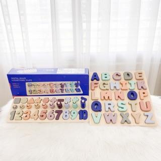 Bộ bảng số học / bảng chữ gỗ POMO