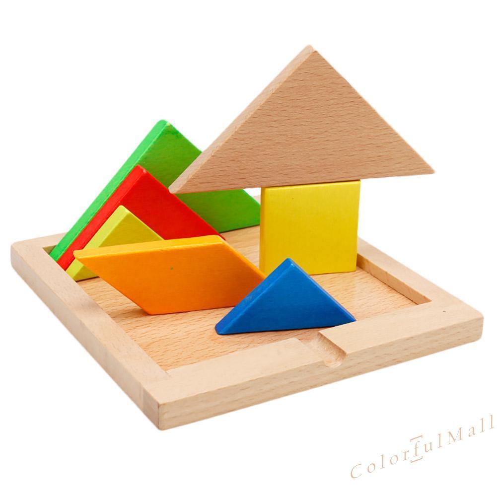 CO Children Mental Development Tangram Wooden Jigsaw Board Puzzle Set Toys