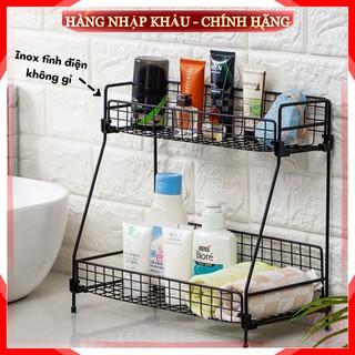 [Freeship – 1 Đổi 1] Kệ để đồ nhà bếp nhà tắm 2 tầng bằng sắt sơn tĩnh điện không gỉ cao cấp