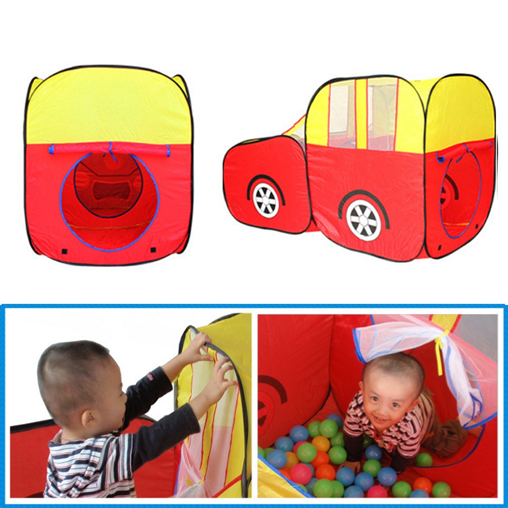 Red Sports Car Kids Play Tent House Play Hut Children Ocean Balls Pit Pool
