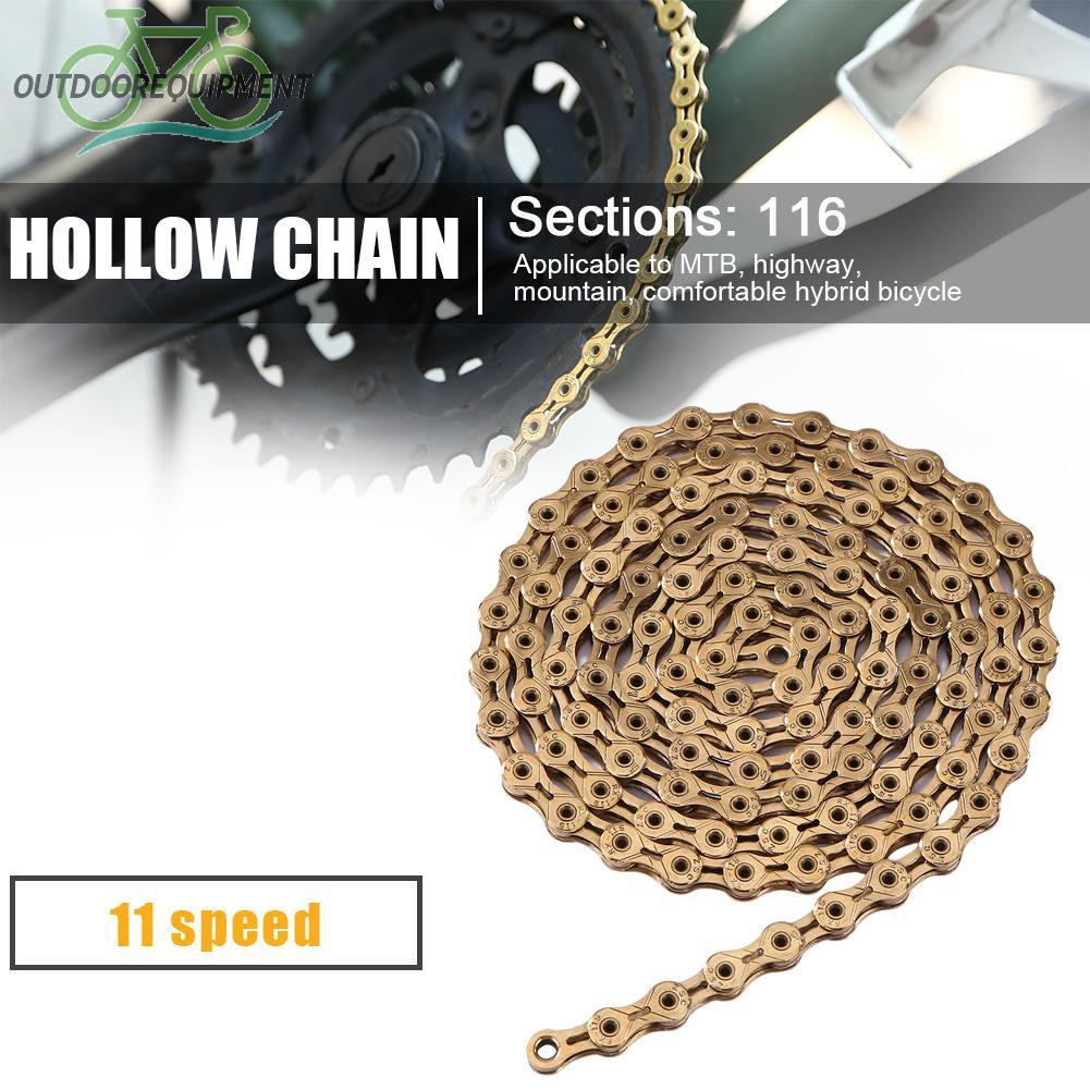♧Outdoor Cycling Accessories Steel 11 Speed 116 Knots Mountain Bike Hollow Chain♧