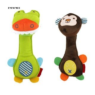 ♕Cartoon Donkey Monkey Stuffed Baby Soft Plush Hand Rattle Toy Squeaker Stick