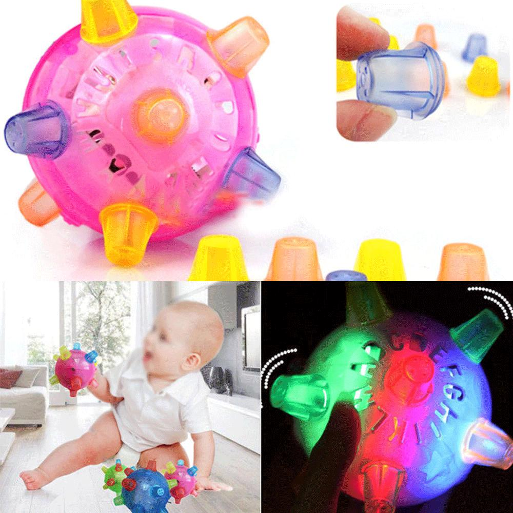 ♛BA♚LED Flashing Light Ball Jumping Joggle Bopper Music Bouncing Vibrating Balls Toy