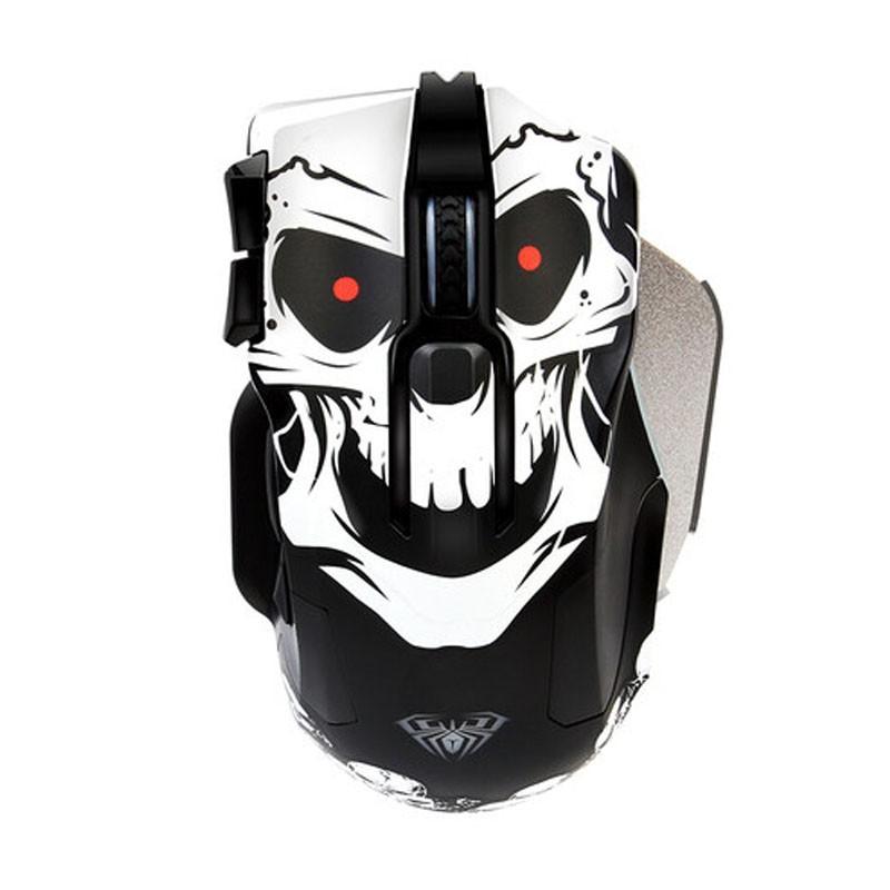 Chuột máy tính để bàn có dây AULA 9006 màu đen trắng họa tiết cực ngầu có đèn led DPI cục khủng 8200