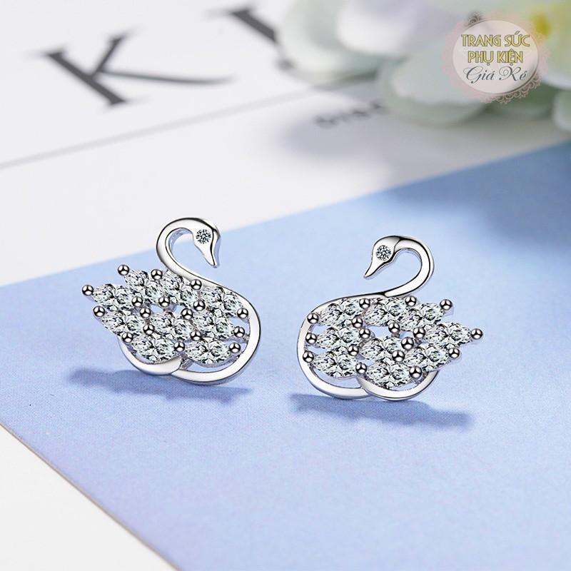 Bông tai thời trang HT168 hình thiên nga, đá sáng S925 cực xinh giá rẻ
