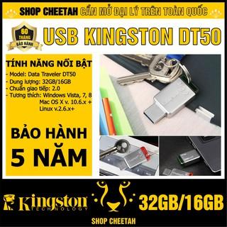 USB Kingston 32GB/16GB DataTraveler DT50 – Vỏ thép nguyên khối – Chịu va đập – Kháng nước – CHÍNH HÃNG – Bảo hành 5 năm