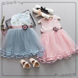 Đầm xòe thiết kế sát nách phối họa tiết ren hoa thời trang dễ thương cho bé gái