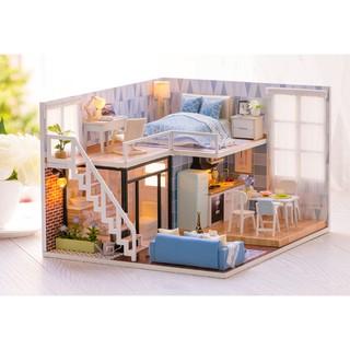Nhà búp bê DIY biệt thự 2 tầng phong cách nhẹ nhàng mà hiện đại – BLUE TIME (có mica che bụi + Cót nhạc)