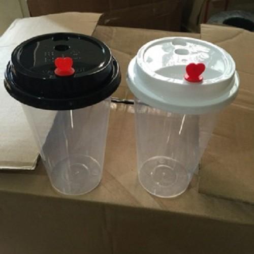 200 Cốc nắp tim đựng trà sữa, ly nắp tim (Tim Dày Cao Cấp)
