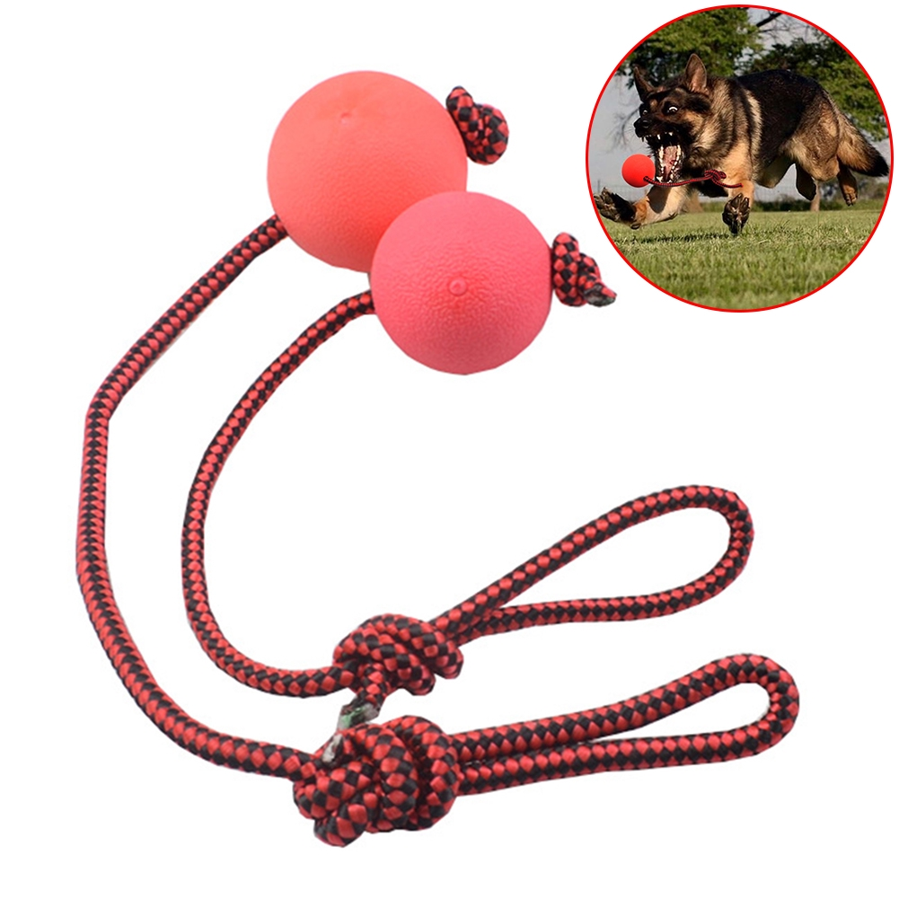 Solid Rubber Dog Chew Training  Toys Tooth Cleaning Puppy Pet Play Chewing Toy With Rope Handle