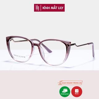 Gọng kính cận nữ Lilyeyewear mắt tròn càng kính kim loại kiểu dáng thời trang 87045